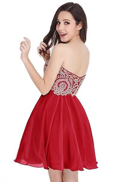 Babyonlinedress Vestido Largo de Novia Vestido Rojo Estilo Elegante y A Line  Cuello Redondo Espalda de Cierre 2017 Talla 46  Amazon.es  Ropa y accesorios cd6640a9a14f