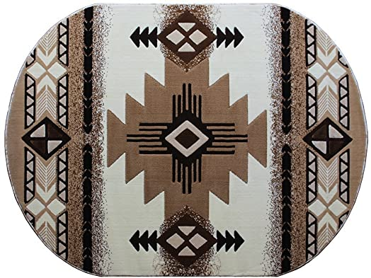 Champion Rugs Southwest Native American Indian Ivory Carpet Area Rug 3 Feet X 5 Feet Oval