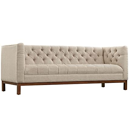Amazon.com: Modway Panache Upholstered Modern Tufted Sofa in Beige ...
