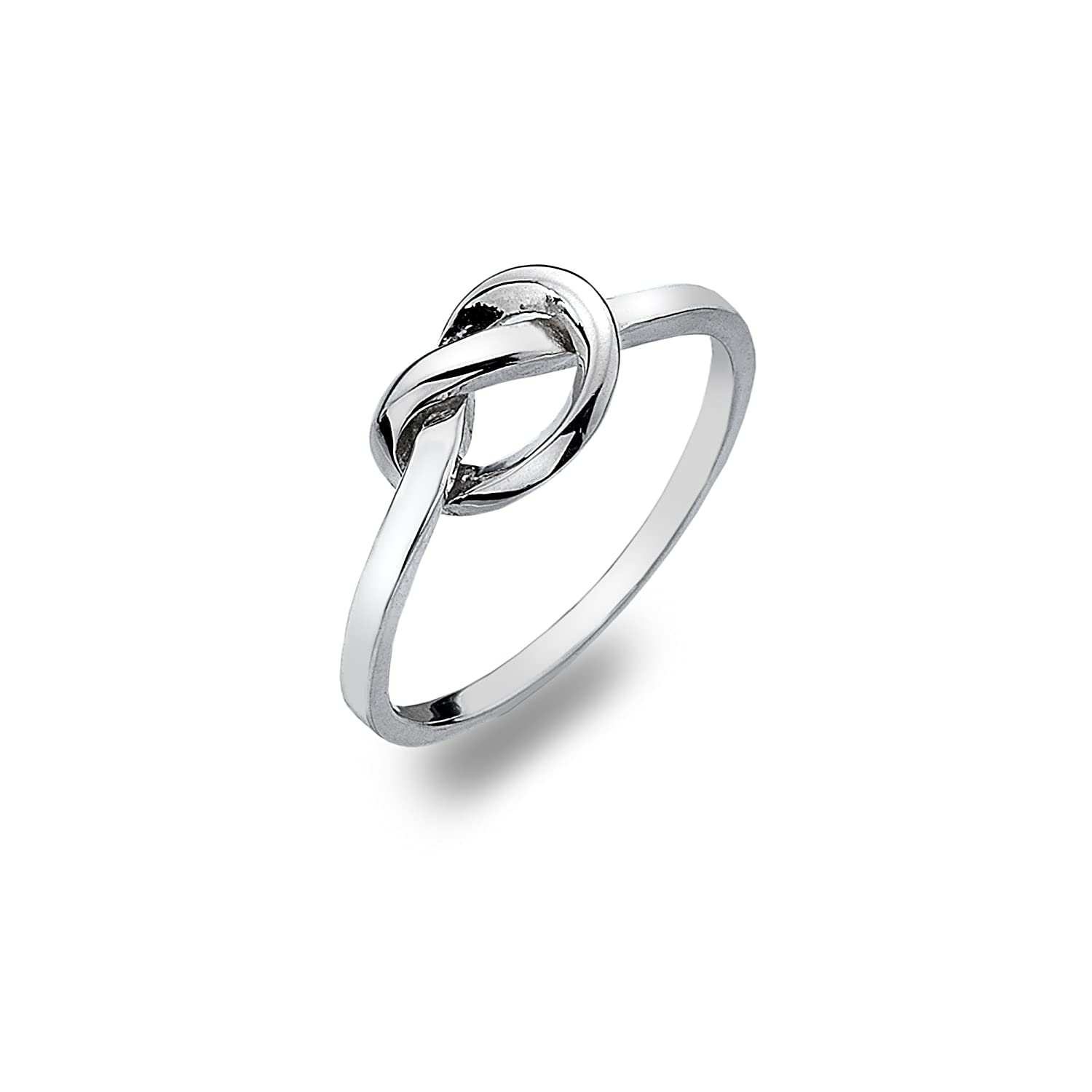 silver sterling ring diamond simulated pin heart jewelry knot
