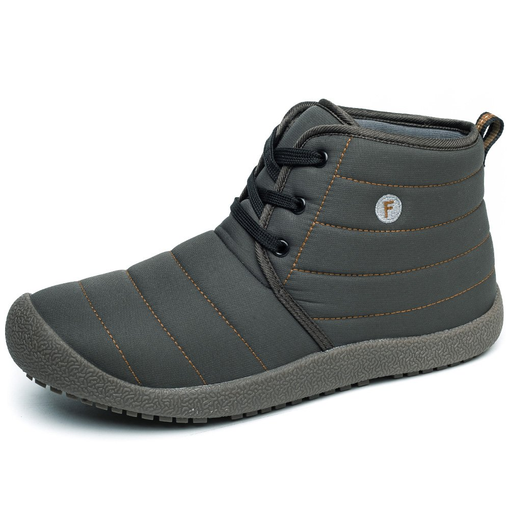 Enly Mens Womens Snow Boots Winter Outdooor Lace up Shoes Anti-Slip Ankle Bootie Grey