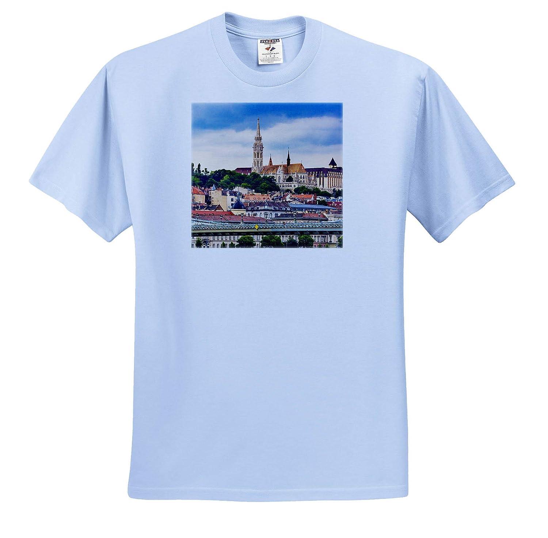 3dRose Danita Delimont Adult T-Shirt XL Chain Bridge Budapest Hungary Lion Matthias Church ts/_313623 Hungary