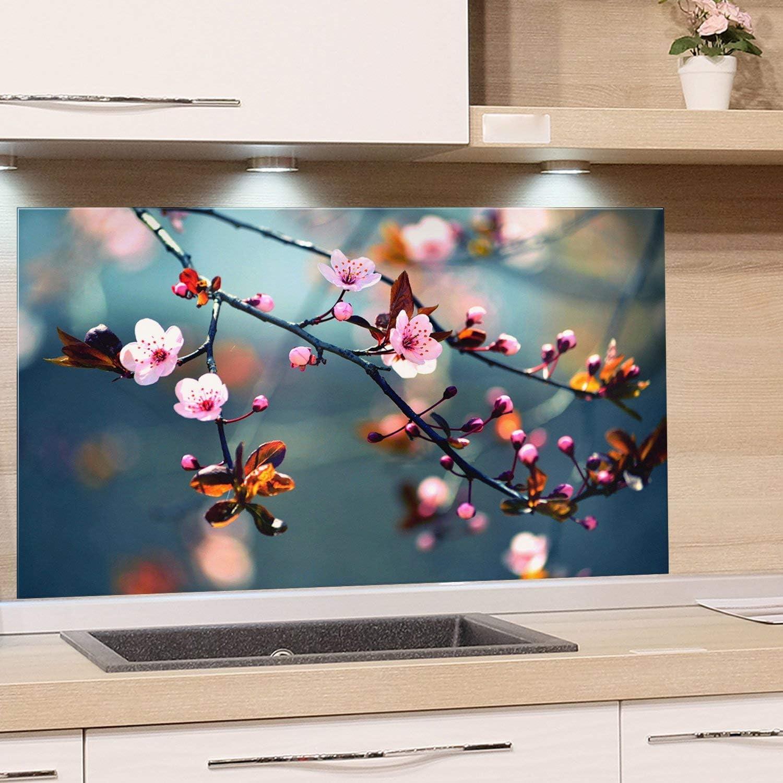 GRAZDesign Spritzschutz Glas für Küche Herd, Bild-Motiv Kirschblüte im  Sommer, Küchenrückwand Küchenspiegel Glasrückwand / 49x49cm