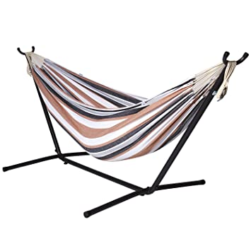 camping hammock with stand   double hammock swing 2 person brazilian style for garden amazon     camping hammock with stand   double hammock swing 2      rh   amazon