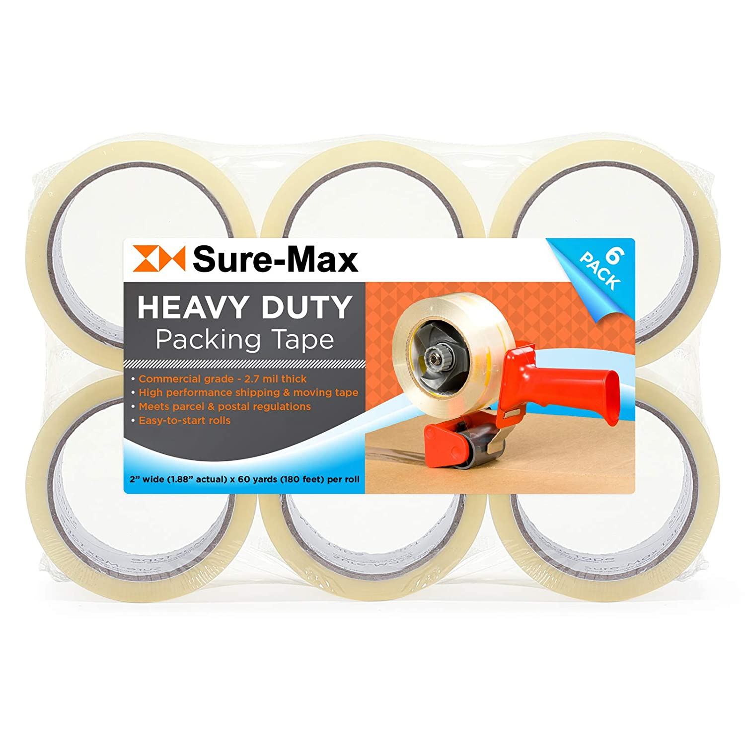 2.7mil Clear Sure-Max 6 Rolls Heavy-Duty Shipping /& Packing Tape 2 x 60 yard//180 Each - Moving /& Adhesive Carton Sealing