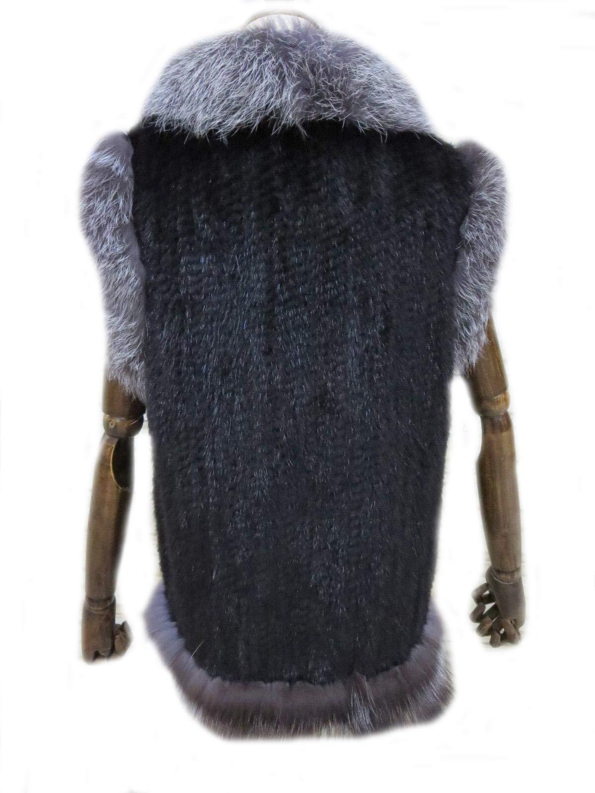 Women's Elegant Real Mink Fur Vest With Sliver Fox Fur Collar (Mink Fur + Sliver Fox Fur Vest) by DTDYG18 (Image #5)