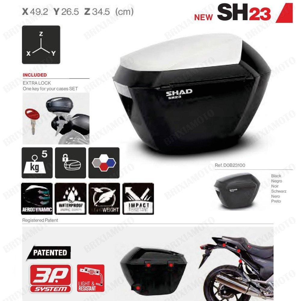 SHAD D0B23100 Side Cases SH23 Black