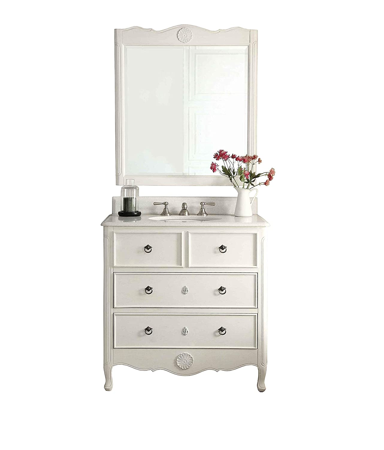 34 Cottage look Daleville Bathroom Sink vanity Mirror Set – HF-081AW-MIR Antique White