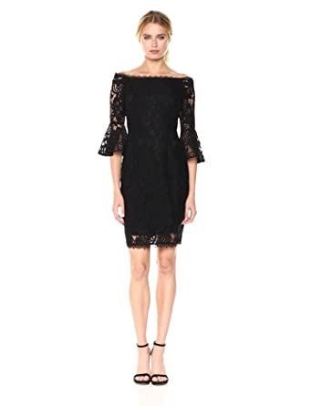 b78fe7ef95e62 Adrianna Papell Women s Off The Shoulder Solid Lace Cocktail Dress ...