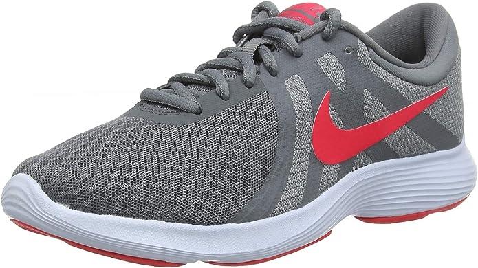 Nike Revolution 4 Sneakers Laufschuhe Damen Grau mit roten Streifen