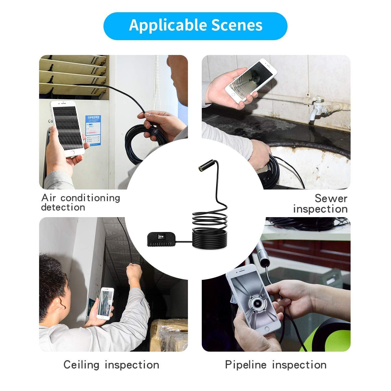 4 Dimmable LED Auto Focus WiFi Endoscope 5.0 Megapixels HD Snake Camera Borescope IP68 Waterproof Android QYLT 1944P Wireless Inspection Camera Compatible with iOS
