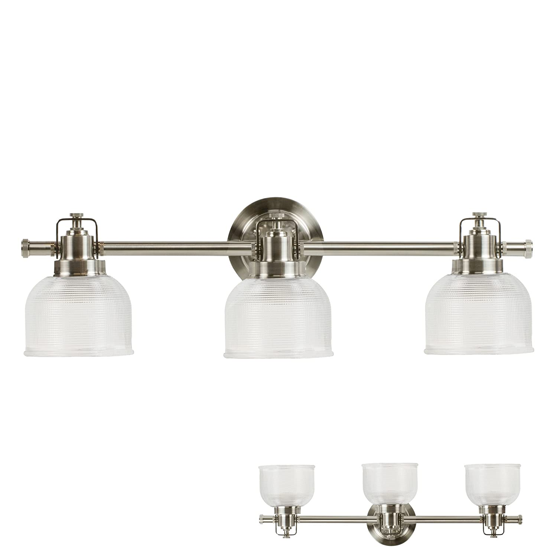 Satin Nickel Vanity Light 3 Bulb Bath Wall Fixture Clear Double