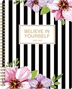 """2020-2021 Planner - Weekly & Monthly Academic Planner (July 2020 - June 2021), 8"""" x 10"""", Flexible Floral Cover with Premium White Paper"""