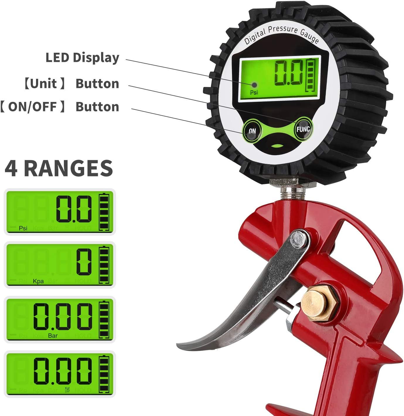 Hromee Digital Tire Inflator with Pressure Gauge for Car Bike 18-Inch Rubber Hose Presta to Schrader Valve Adapter and Air Compressor Accessories Quick Connect Plug