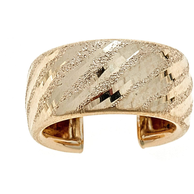 Zahaav Jewelry 10KT Solid Yellow Gold Diamond-Cut Ear Cuff