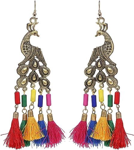 Bollywood Retro Fashion Kashmiri Style Danglers Tassel Jhumka Jhumki Indian Oxidized Earrings for Women Girls
