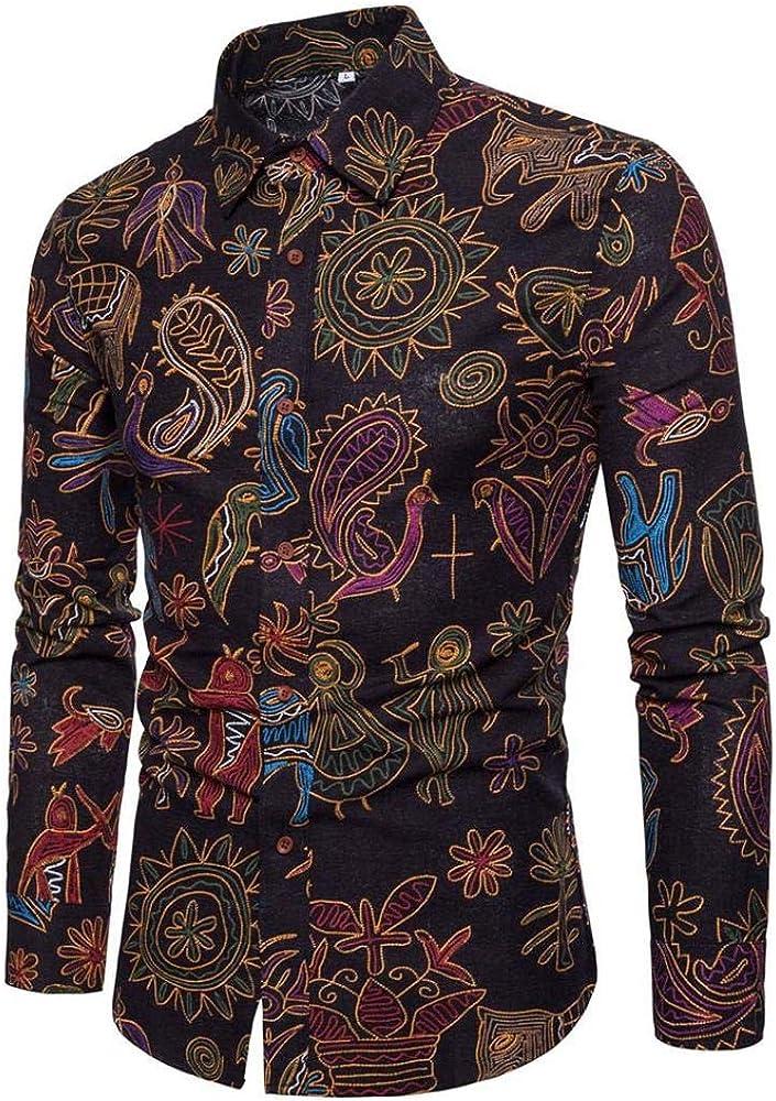 FAMILIZO Camisas Hombre Manga Larga Slim Fit Camisas Hombre Lino Camisas Hombre Originales Negocio Tops Blusa Hombre Blanca Otoño Moda Floral Business Casual Formal Slim Button-Down Ajustado: Amazon.es: Ropa y accesorios
