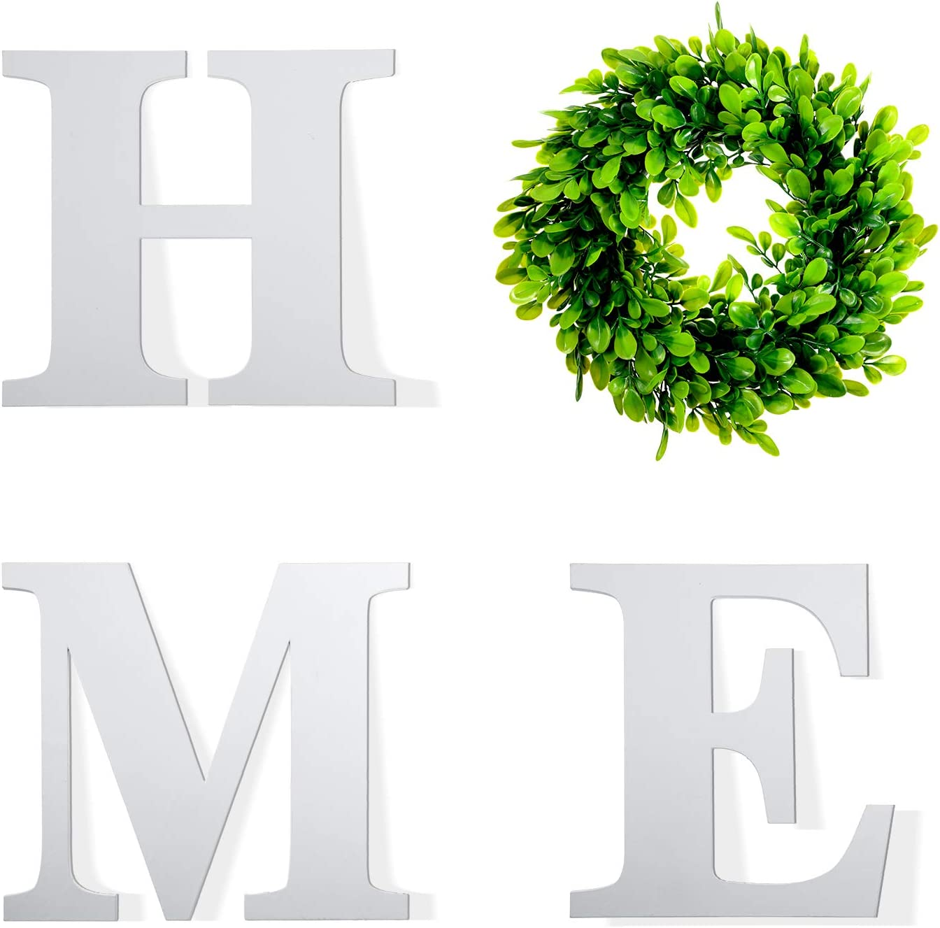 Nuanchu Wooden Letters Home Sign Artificial Wooden Letters H M E with Round Boxwood Wreath White Unfinished Wood Letter Plastic Green Leaves Wreath for Rustic Home Wall Door Decoration