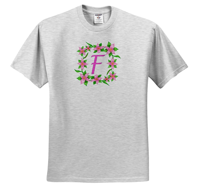 Adult T-Shirt XL 3dRose CherylsArt Monograms ts/_316432 Painting of Pink Flowers Green Vine Frame Monogram Letter F