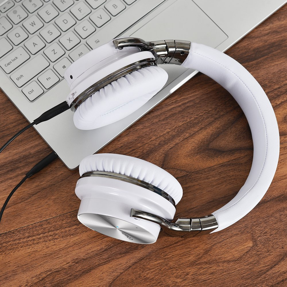 COWIN E7 PRO [2018 Upgraded] Active Noise Cancelling Headphone Bluetooth Headphones with Microphone Hi-Fi Deep Bass Wireless Headphones Over Ear 30H Playtime for Travel Work TV Computer Phone - White by cowin (Image #5)