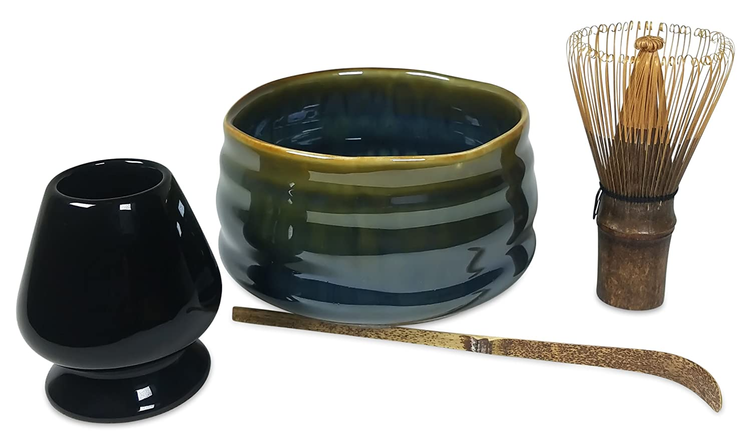 Matcha Tea Set Includes Matcha Bowl, Whisk and Stand for Traditional Japanese Tea Ceremony or Everyday Use by Princeton Wares. (Earth and Sea) 4335465367