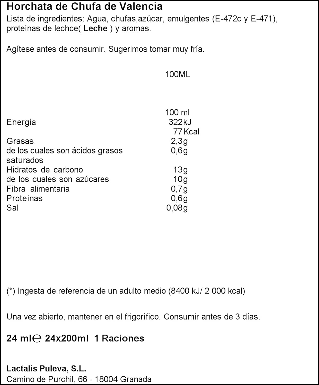 Chufi Original - Horchata de Chufa de Valencia 200ml, 1 unidad: Amazon.es: Alimentación y bebidas