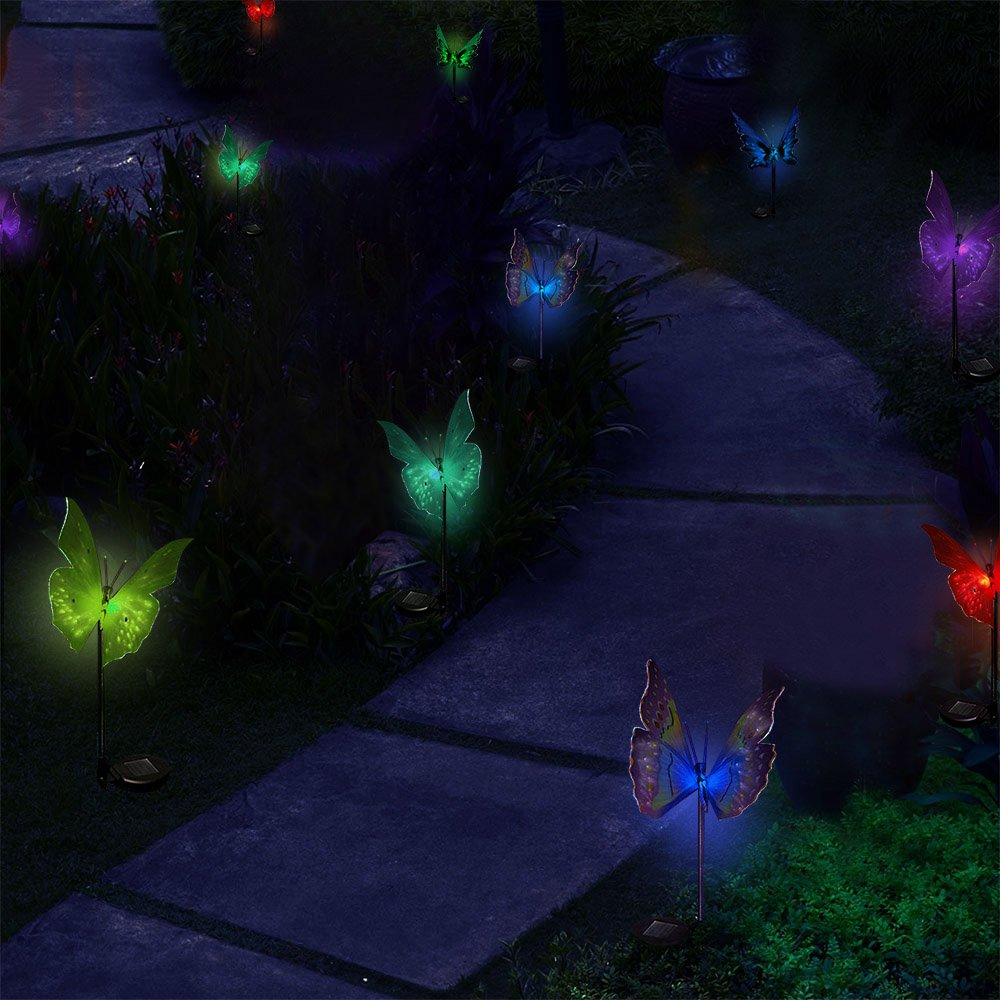SOLARMKS Garden Decorative Solar Lights Outdoor Butterfly Stake Lights, Multi-Color Changing LED Fairy Garden Decorative Lights,3 Pack Fiber Optic Solar Butterfly Lights for Garden, Patio, Backyard