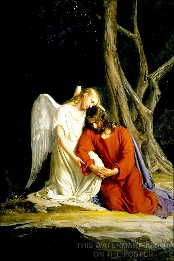 "History Galore 24""x36"" Gallery Poster, Angel with Jesus Christ Before Arrest in The Garden of Gethsemane, Painting by Carl Heinrich Bloch"