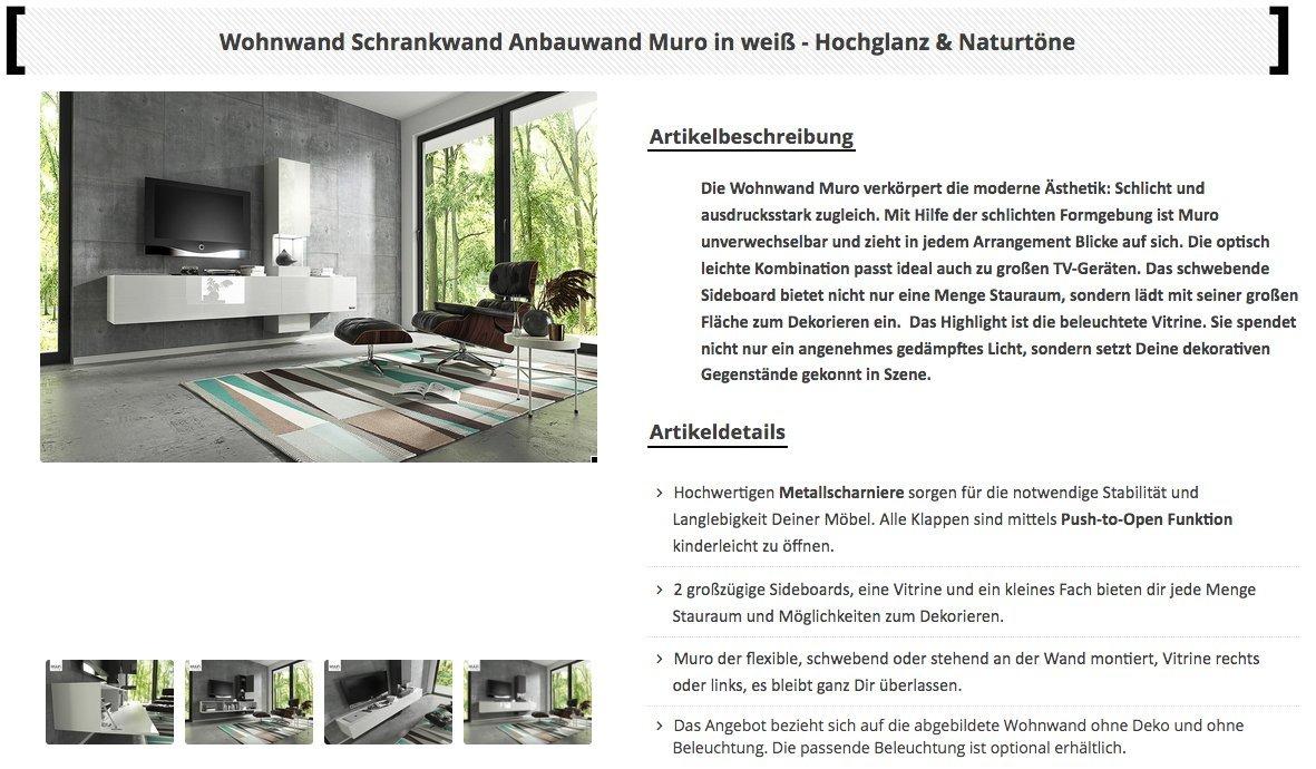 Wuun Wohnwand Schrankwand Anbauwand TV Board Muro In Weiß   Hochglanz U0026  Naturtöne/2 4 Werktage Lieferzeit/(260x185x40)/Weiß Hochglanz, Ohne  Beleuchtung: ...