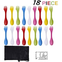 18 Pack Sporks - Spoon, BPA-Free Tritan Sporks, Spoon Fork & Knife Combo Utensils with Portable Strong Waterproof Bag and Stainless Multifunctional Bottle Opener for Camping Outdoor, 6 Color