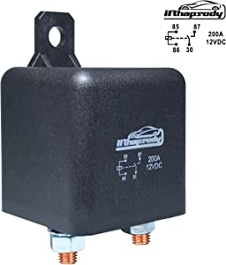 IRHAPSODY 12 V DC 200 Amp 4 Pin Heavy Duty Relay/Split Charge Relay Switch, 4 Terminal Relay