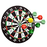 18 Inch Dart Board with 6 Brass Darts Double-sided Flocking Dartboard Tip Room Game Family Room