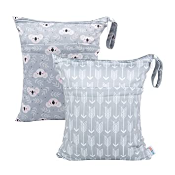 Amazon.com: ALVABABY 2 bolsas de pañales de tela para ropa ...