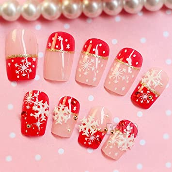 Amazon.com : 24Pcs/Set Nude Pink Red 3D Fake Nails French False Nails White Snowflake Star Full Nail Tips For Christmas Holiday Decoration : Beauty