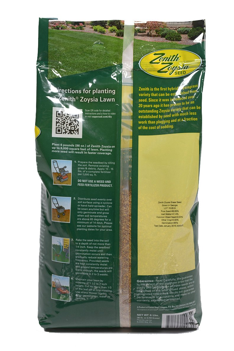 Zenith Zoysia Grass Seed 6 Lb. 100/% Pure Seed