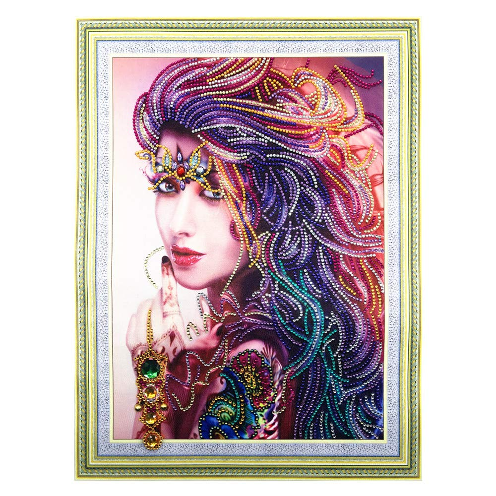Cross Stitch Rhinestones Europe and The United States Modern Beauty Embroidery Picture 40x50cm 5 Hibah DIY 5D Diamond Painting Special Shape Diamond Mosaic Set