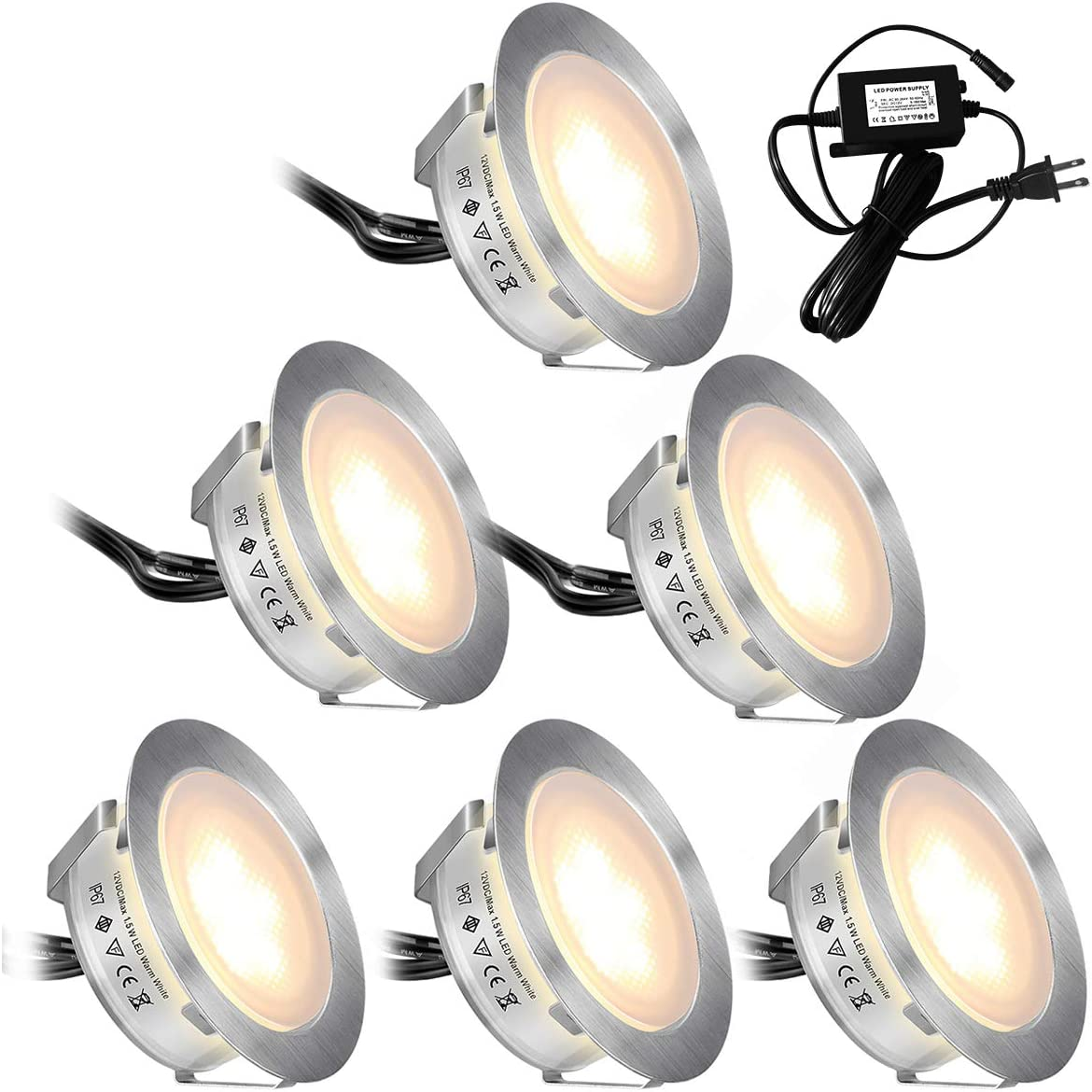 Recessed LED Deck Lights Kits 6 Pack,SMY Upgrade Version In Ground Outdoor LED Deck Lighting Waterproof IP67,Low Voltage LED Lights for Garden,Yard Steps,Stair,Patio,Pool Deck,Kitchen Decoration