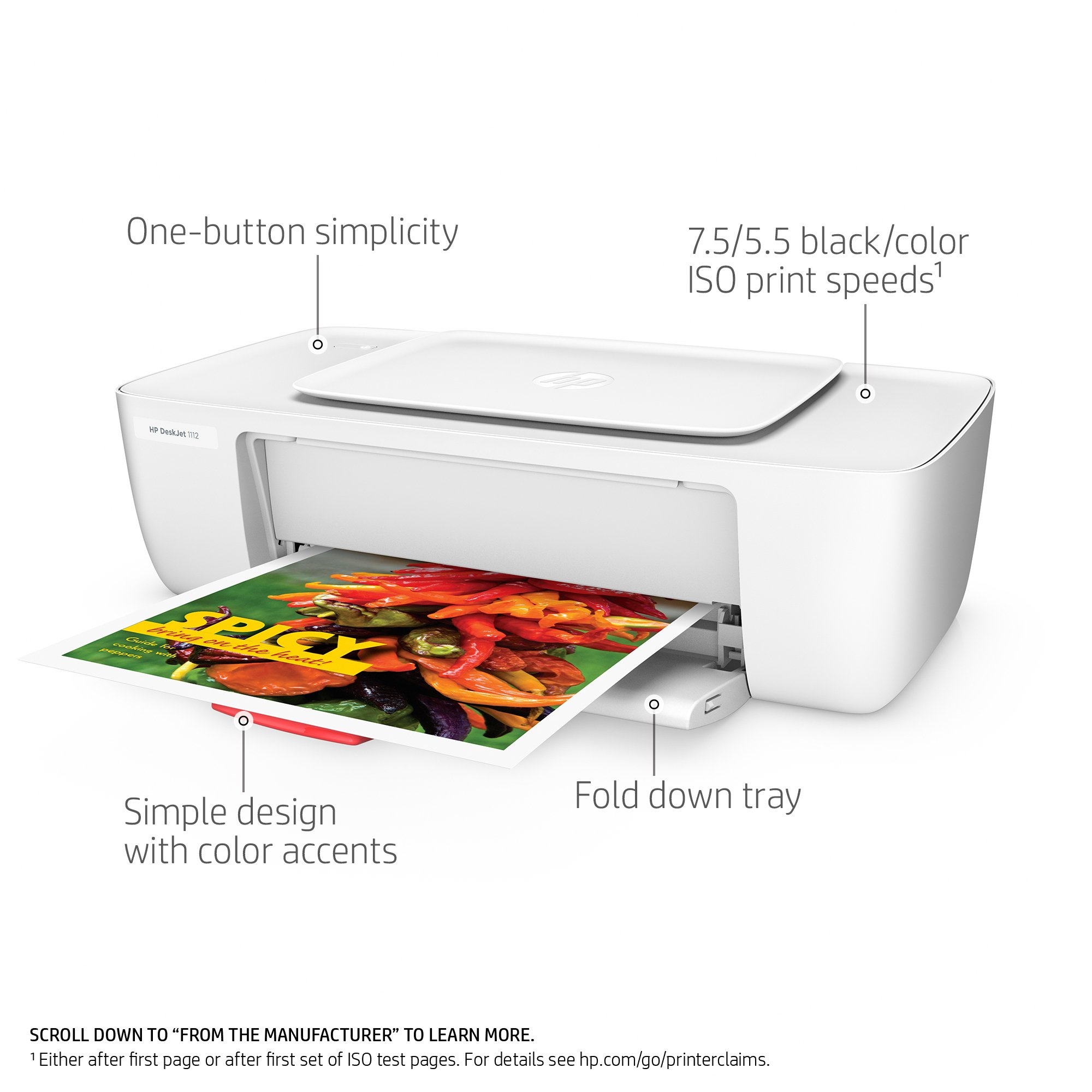 HP F5S23A#B1H DeskJet 1112 Compact Photo Printer (F5S23A)