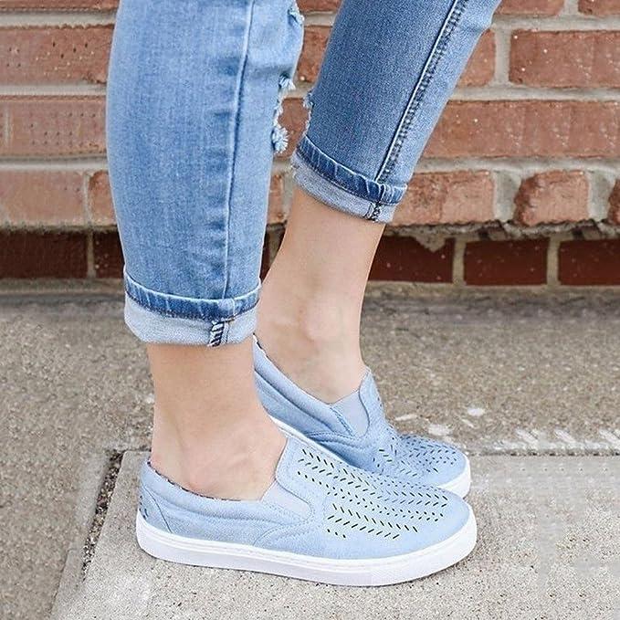 Zapatillas Mujer, Mocasines De PU De Color Solido Hueco Transpirable Ligero Con Plataforma Loafers Casuales Zapato Plano Al Aire Libre Calzado Sin Cordones ...