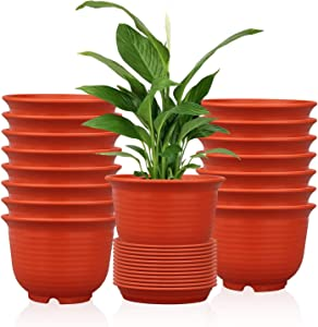 Flower pots, Ufrount 16 PCS Plastic Planter Pot with Drainage Holes, Succulent Planter Pots Planting Pot Flower Pots for Small Plant Perfect for Garden, Kitchen, Windowsill - Set of 16 (Red)