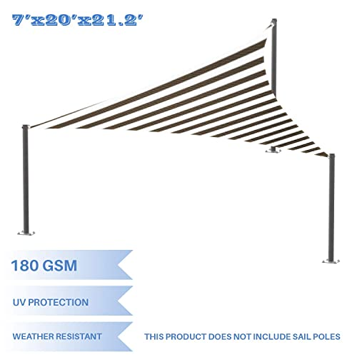 E K Sunrise 7 x 20 x 21 Brown White Stripes Sun Shade Sail Right Triangle UV Block Durable Awning Perfect