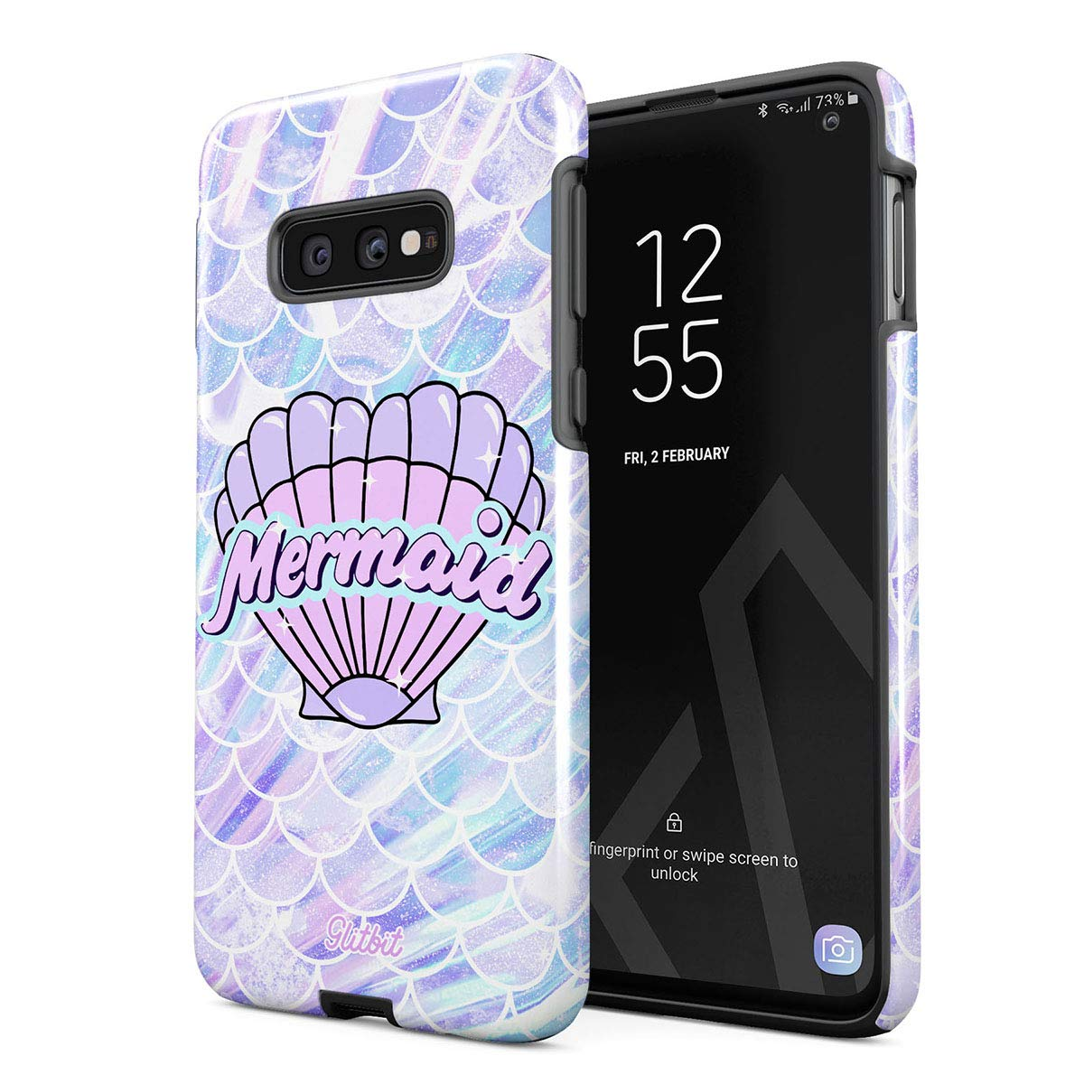 Glitbit Compatible with Samsung Galaxy S10e Case Mermaid Seashell Paua Abalone Queen Princess of The Ocean Pastel Purple Aesthetic Shockproof Dual Layer Hard Shell + Silicone Protective Cover by Glitbit