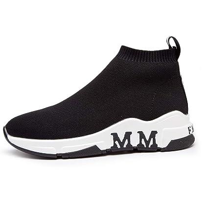 Calzado casual para mujer Punto de primavera y otoño Mocasines y zapatillas sin cordones Calcetines elásticos