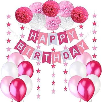 """Decoraciones Cumpleaños Nina – 1 Bandera Banderines Feliz Cumpleaños """" Happy Birthday"""" + 8 Pompon Bola de Flor + 2 Guirnaldas con Estrellas de 3 ..."""