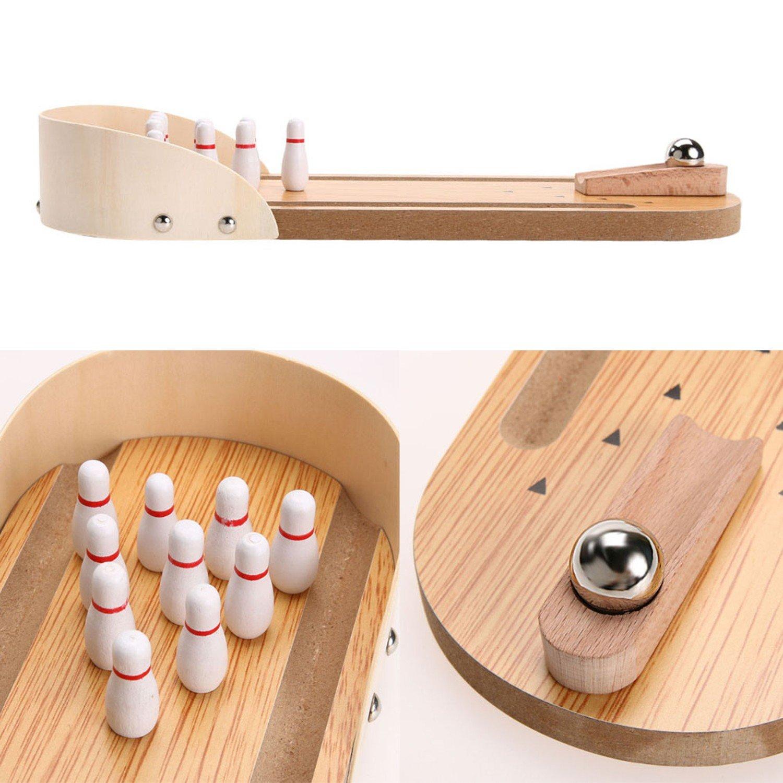 Mini Wooden Desktop Bowling Game Kids Children Developmental Toy
