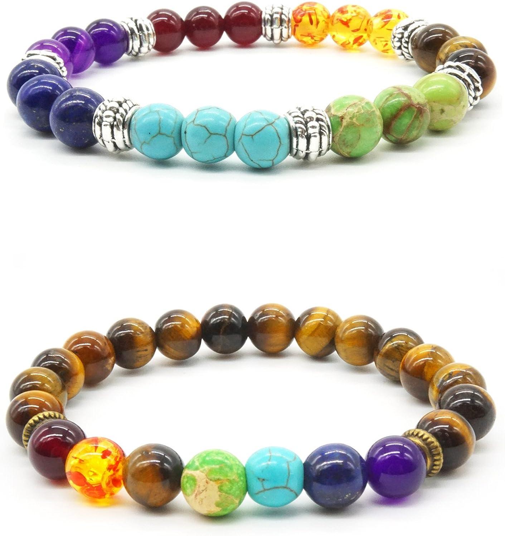 2 pcs Natural Tiger Eye Stone Reiki Healing Yoga Bracelet 7 Reiki Chakra Stretch Bracelet