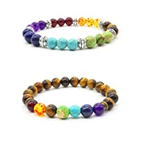 2 pcs Pierre Naturelle Oeil de Tigre Bracelet de Yoga Reiki Healing 7 Reiki Chakra Stretch Bracelet