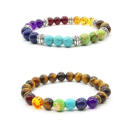 2 pcs Reiki Stone Lava Bracelet Natural Tiger Eye Stone Yoga Bracelet 7 Chakra Stretch Bracelet Healing Balancing 60GiMzha