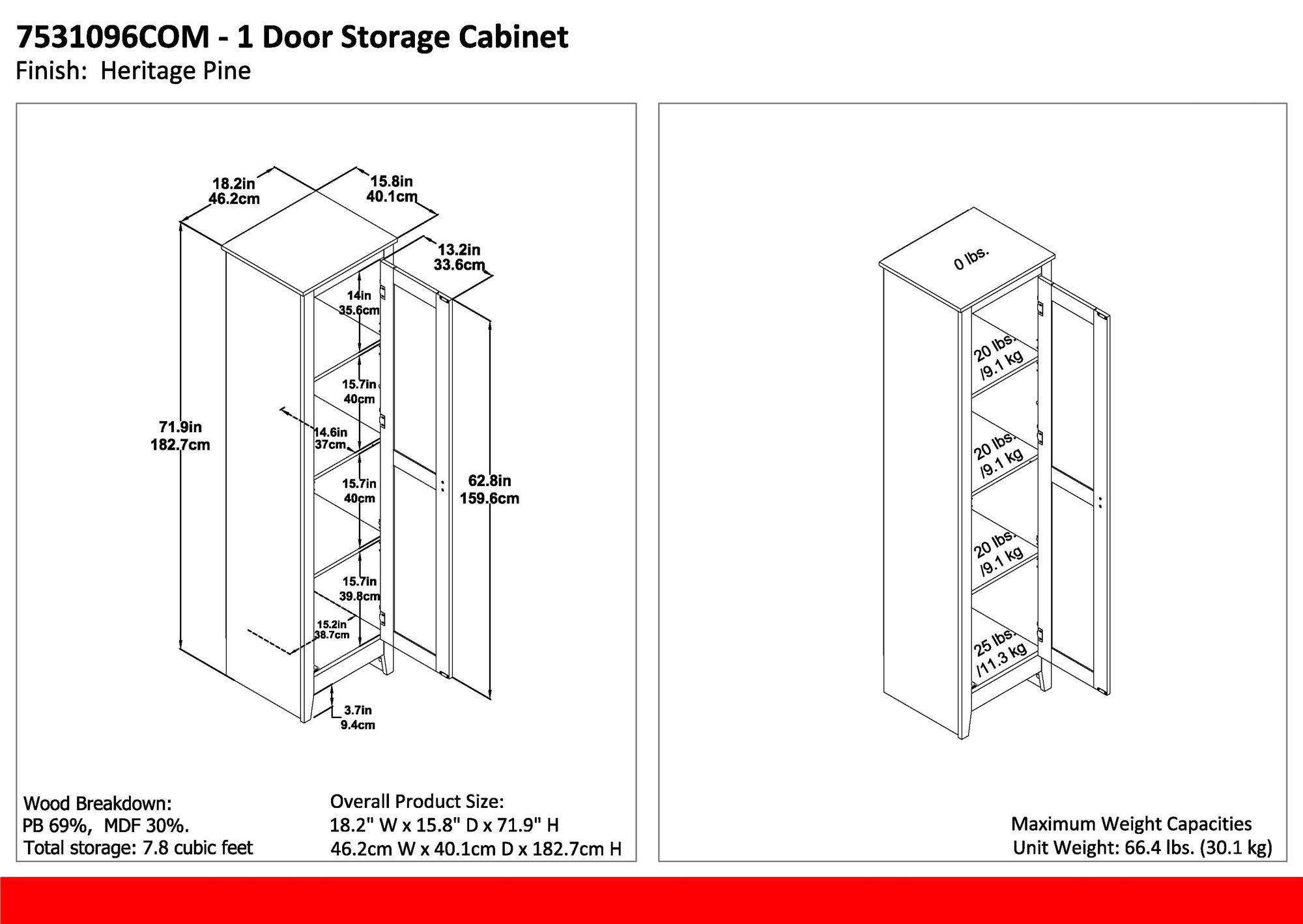Ameriwood Home 7531096COM Farmington Wide Storage Cabinet, 18'', Rustic by Ameriwood Home (Image #8)
