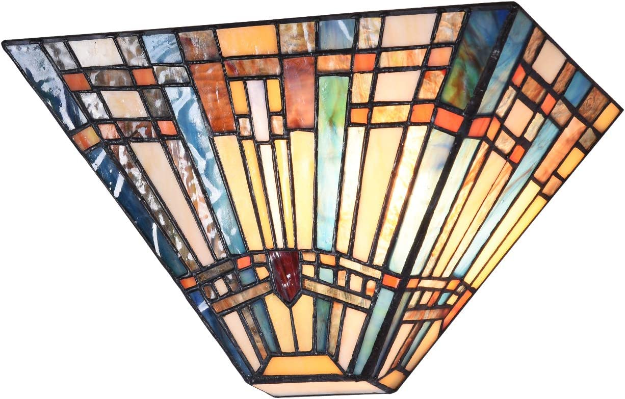 Amazon Com Cotoss Tiffany Wall Sconce Stained Glass Sconces Wall Lighting Tiffany Wall Lights Mission Style Wall Light Fixtures Hand Crafted Indoor Sconce W12 Home Improvement